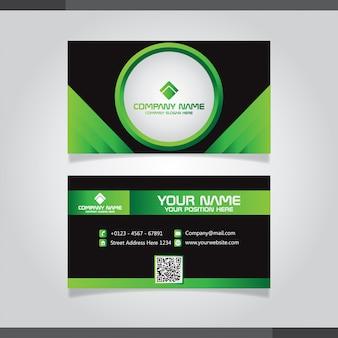 Modèle de vecteur de carte de visite moderne vert et noir.