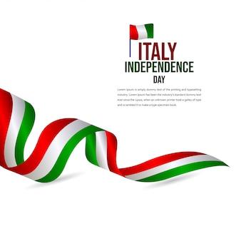Modèle de vecteur de célébration du jour de l'indépendance de l'italie heureux