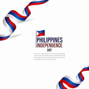 Modèle de vecteur de célébration de joyeux anniversaire de l'indépendance des philippines