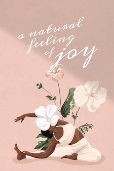 Modèle de vecteur de citation de vie saine séance d'entraînement femmes bannière minimale floral rose