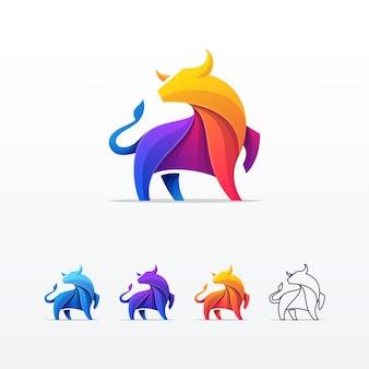 Modèle de vecteur coloré bull