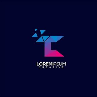 Modèle de vecteur coloré géométrique de technologie de lettre de logo moderne