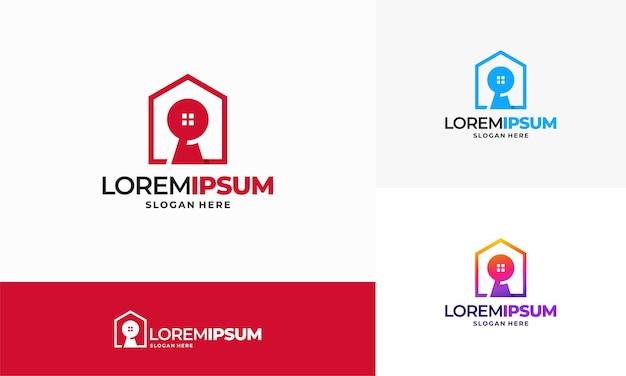 Modèle de vecteur de concept de logo de clé de maison. logo clé de l'immobilier, icône de symbole de propriété immobilière