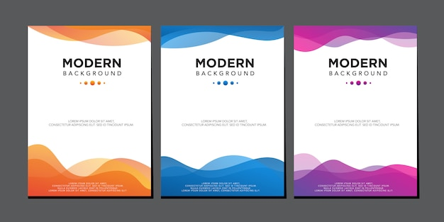 Modèle de vecteur de conception de couverture dégradé coloré moderne vague liquide