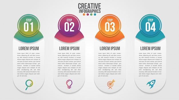 Modèle de vecteur de conception infographie moderne chronologie pour entreprise avec 4 étapes ou options