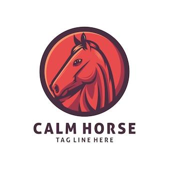 Modèle de vecteur de conception de logo de cheval calme