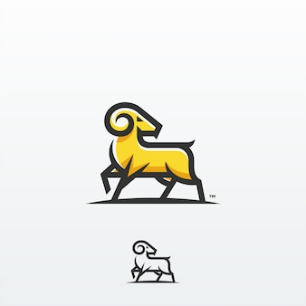 Modèle de vecteur de conception logo chèvre ram