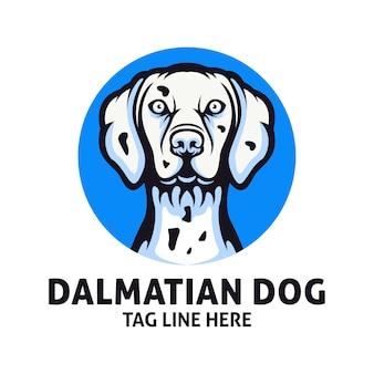 Modèle de vecteur de conception de logo chien dalmatien
