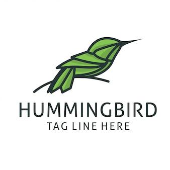 Modèle de vecteur de conception de logo colibri