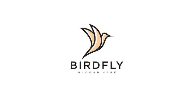 Modèle de vecteur de conception de logo de colibri