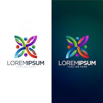 Modèle de vecteur de conception de logo coloré abstrait
