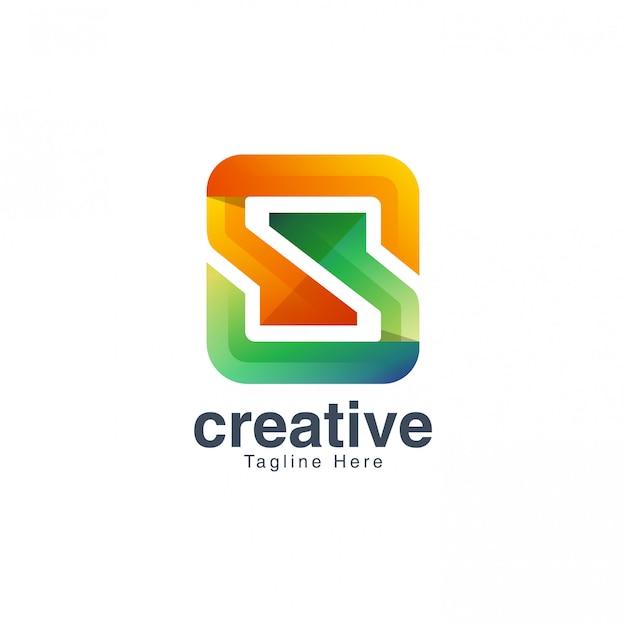 Modèle de vecteur de conception de logo coloré lettre s
