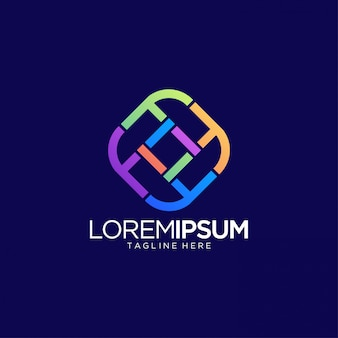 Modèle de vecteur de conception de logo de ligne colorée abstraite