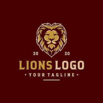 Modèle de vecteur de conception de logo lion
