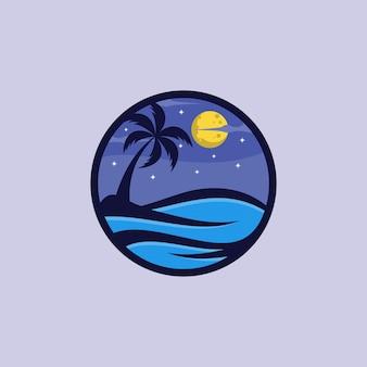 Modèle de vecteur de conception de logo de nuit de plage