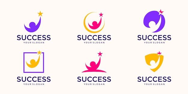 Modèle de vecteur de conception de logo de personnes de succès