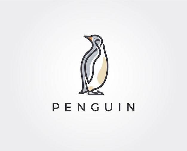 Modèle de vecteur de conception de logo de pingouin