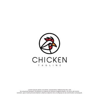Modèle de vecteur de conception de logo de poulet