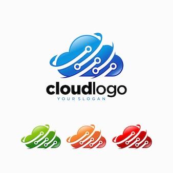 Modèle de vecteur de conception de logo de technologie cloud