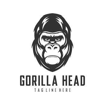Modèle de vecteur de conception logo tête de gorille