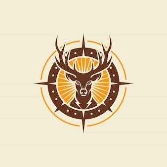 Modèle de vecteur de conception de logo vintage de cerf sauvage