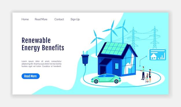 Modèle de vecteur de couleur plate de page de destination des avantages de l'énergie renouvelable. mise en page de la page d'accueil de la plateforme en ligne. interface de site web d'une page de maison intelligente avec illustration de dessin animé.
