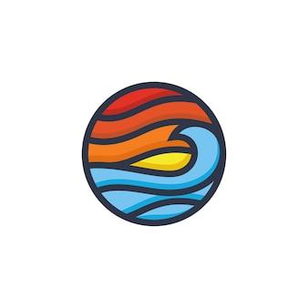 Modèle de vecteur de création de logo de plage
