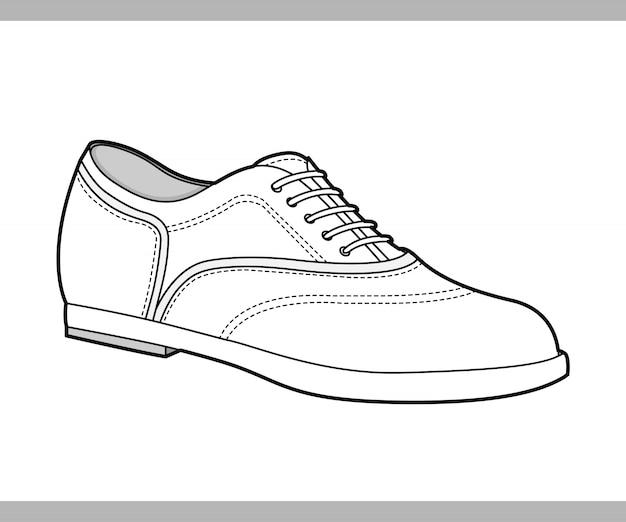 Modèle de vecteur de dessin technique plat chaussures mode