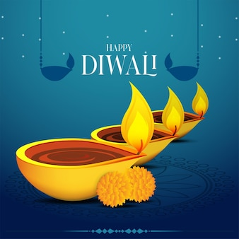 Modèle de vecteur de diwali india festival diya