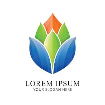 Modèle de vecteur de fleur lumineux logo identité belle marque design.