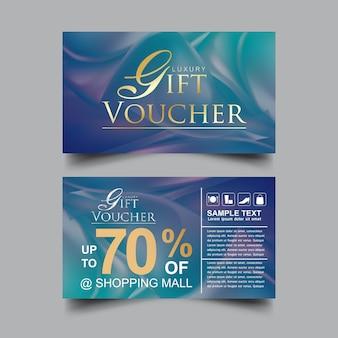 Modèle de vecteur de fond bleu de luxe de chèque-cadeau