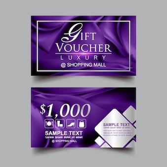 Modèle de vecteur de fond violet de luxe de chèque-cadeau
