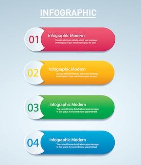 Modèle de vecteur graphique d'informations coloré avec 4 options