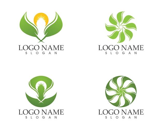 Modèle de vecteur icône de feuille nature
