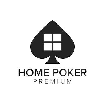 Modèle de vecteur d'icône home poker logo