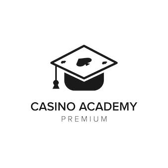 Modèle de vecteur d'icône de logo de l'académie de casino