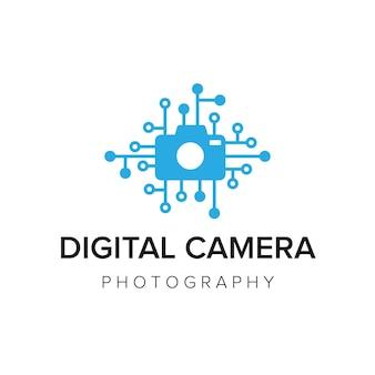 Modèle de vecteur d'icône de logo d'appareil photo numérique