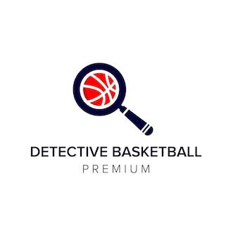 Modèle de vecteur d'icône de logo de basket-ball de détective