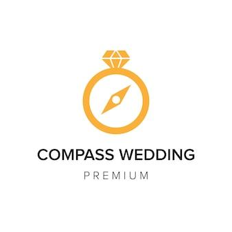 Modèle de vecteur d'icône de logo de mariage de boussole