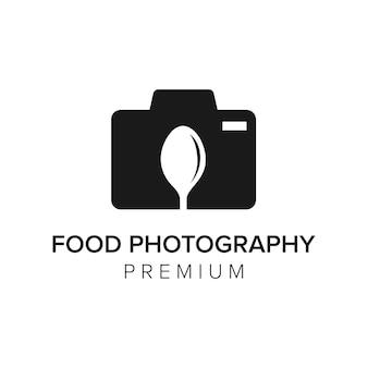 Modèle de vecteur d'icône de logo de photographie alimentaire