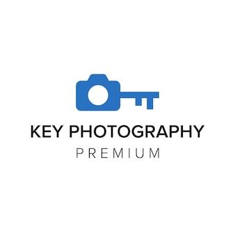 Modèle de vecteur d'icône de logo de photographie clé