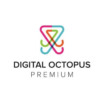 Modèle de vecteur d'icône de logo de poulpe numérique