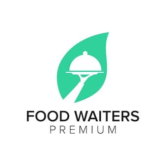 Modèle de vecteur d'icône de logo de serveurs de nourriture