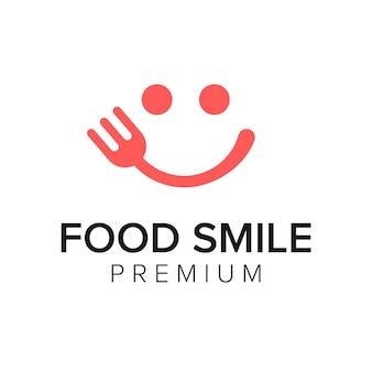 Modèle de vecteur d'icône de logo de sourire de nourriture