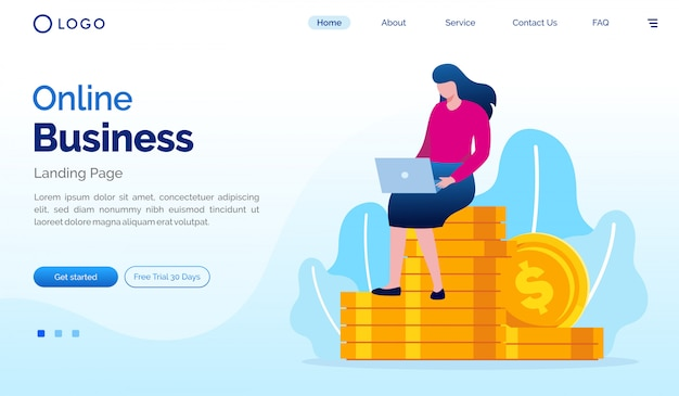 Modèle de vecteur d'illustration de site web de page de destination d'affaires en ligne