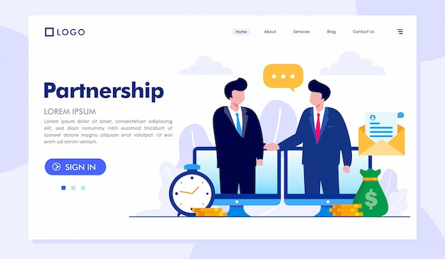 Modèle de vecteur d'illustration de site web de partenariat