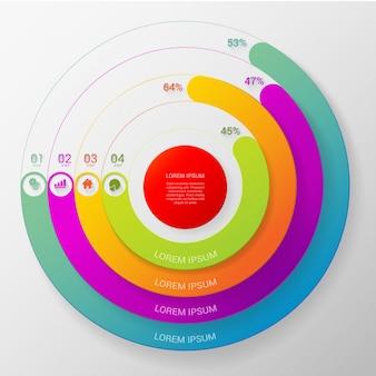 Modèle de vecteur infographie circulaire multicolore pourcentage ligne ligne 4 étape indicateurs.