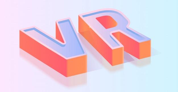 Modèle de vecteur isométrique vr titre de texte 3d