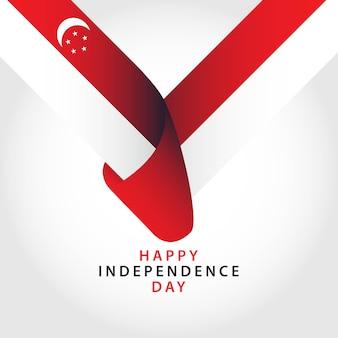 Modèle de vecteur de joyeux jour de l'indépendance de singapour