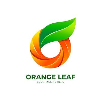 Modèle de vecteur de logo 3d lettre o fruits frais orange